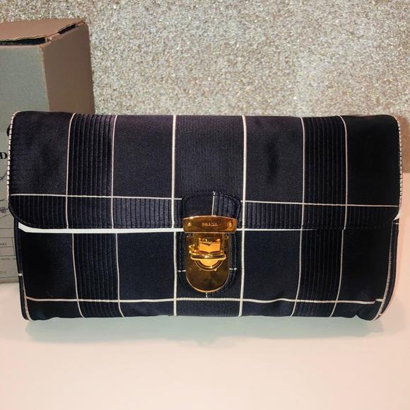 bfbe9e21e2b7 Prada Windowpane-Plaid Satin Shoulder Bag   clutch
